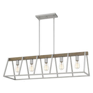 Brockton Brushed Silver 42-Inch Five-Light Island Chandelier