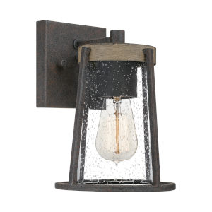 Brockton Rustic Black Seven-Inch One-Light Outdoor Wall Mount
