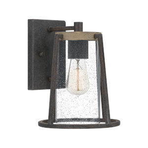 Brockton Rustic Black Eight-Inch One-Light Outdoor Wall Mount