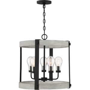 Carlisle Grey Ash Five-Light Outdoor Lantern with Transparent Seedy Glass