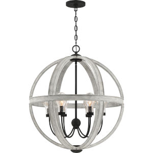 Carlisle Grey Ash Six-Light Outdoor Lantern with Transparent Seedy Glass