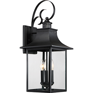 Chancellor Mystic Black Three-Light Outdoor Wall Sconce