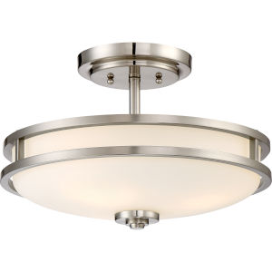 Cadet Brushed Nickel 15-Inch Three-Light Semi-Flush Mount