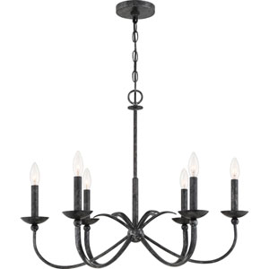 Calligraphy Old Black 28-Inch Six-Light Chandelier
