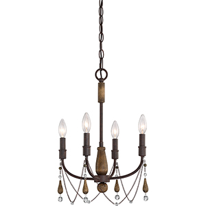Concord Tuscan Brown and Wood Four-Light Mini Chandelier