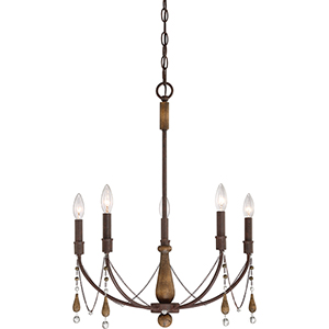 Concord Tuscan Brown and Wood Five-Light Chandelier