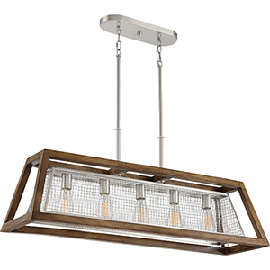 Courtyard Brushed Nickel and Wood Five-Light Linear Pendant
