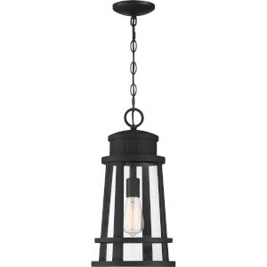 Dunham Earth Black 10-Inch One-Light Outdoor Hanging Lantern with Clear Seedy Glass