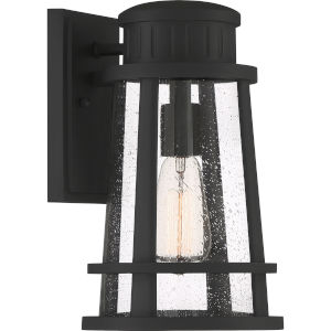 Dunham Earth Black 13-Inch One-Light Outdoor Lantern with Clear Seedy Glass