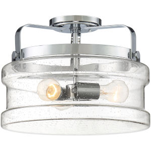 Danbury Polished Chrome 14-Inch Three-Light Semi-Flush Mount with Clear Seeded Glass