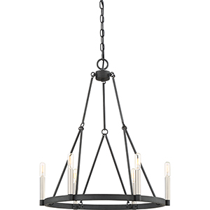 Doran Mottled Black Six-Light Chandelier