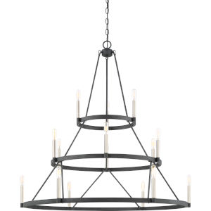 Doran Mottled Black 15-Light Chandelier