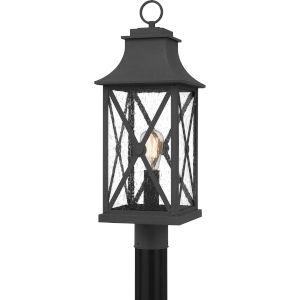 Ellerbee Mottled Black One-Light Outdoor Post Mount