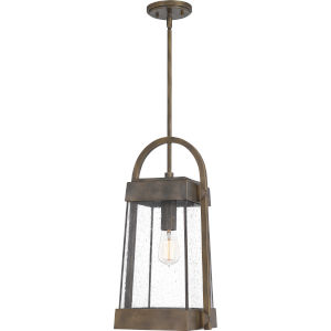 Ellington Statuary Bronze 10-Inch One-Light Outdoor Hanging Lantern with Clear Seedy Glass
