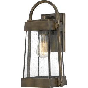 Ellington Statuary Bronze 14-Inch One-Light Outdoor Lantern with Clear Seedy Glass