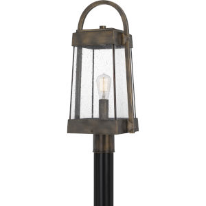 Ellington Statuary Bronze One-Light Outdoor Post Lantern with Transparent Seedy Glass