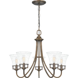 Fairchild Statuary Bronze Five-Light Chandelier with Transparent Seedy Glass