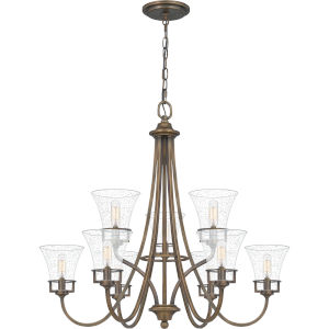 Fairchild Statuary Bronze Nine-Light Chandelier with Transparent Seedy Glass