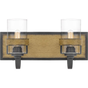 Finch Aged Walnut Two-Light Bath Vanity with Transparent Glass