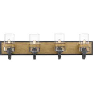 Finch Aged Walnut Four-Light Bath Vanity with Transparent Glass