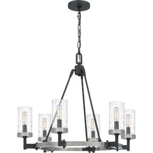 Fallon Earth Black Six-Light Chandelier with Transparent Seedy Glass