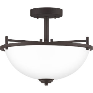 Foley Old Bronze 15-Inch Three-Light Semi-Flush Mount