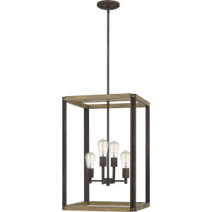 Finn Rustic Black Four-Light Pendant