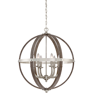 Fusion Brushed Nickel Six-Light Pendant