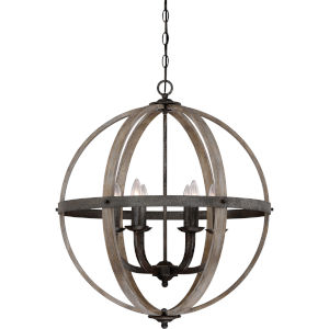 Fusion Rustic Black Six-Light Pendant