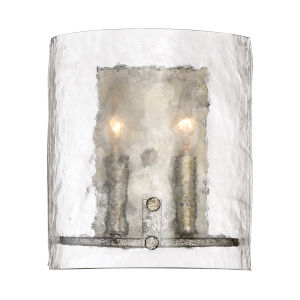 Fortress Mottled Silver Two-Light Wall Sconce