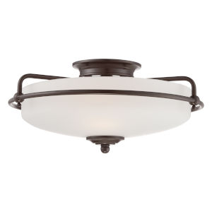 Griffin Palladian Bronze 8-Inch Three-Light Flush Mount