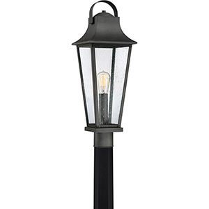 Galveston Mottled Black One-Light Outdoor Post Mount