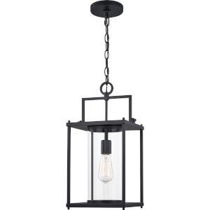 Garrett Matte Black 9-Inch One-Light Outdoor Hanging Lantern with Clear Glass