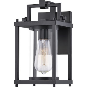 Garrett Matte Black 10-Inch One-Light Outdoor Lantern with Clear Glass