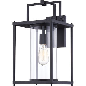 Garrett Matte Black 17-Inch One-Light Outdoor Lantern with Clear Glass