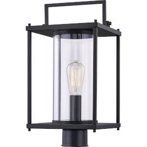Garrett Matte Black One-Light Outdoor Post Lantern with Transparent Glass