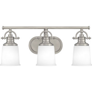 Grant Antique Nickel Three-Light Bath Vanity with Etched Opal Glass