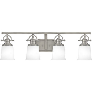 Grant Antique Nickel Four-Light Bath Vanity with Etched Opal Glass