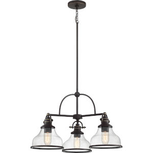Grant Seedy Glass Palladian Bronze Three-Light Chandelier