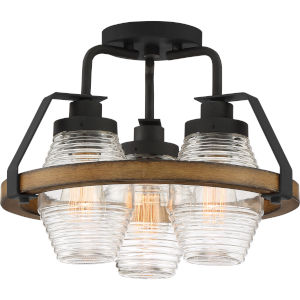 Guilford Grey Ash Three-Light Semi-Flush Mount with Transparent Ribbed Glass