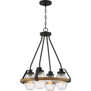 Guilford Grey Ash Four-Light Chandelier with Transparent Ribbed Glass
