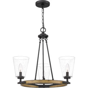 Hearst Matte Black Three-Light Chandelier with Transparent Seedy Glass