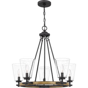 Hearst Matte Black Five-Light Chandelier with Transparent Seedy Glass