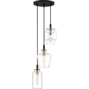 June Earth Black 14-Inch Three-Light Pendant