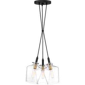 June Earth Black 16-Inch Three-Light Pendant