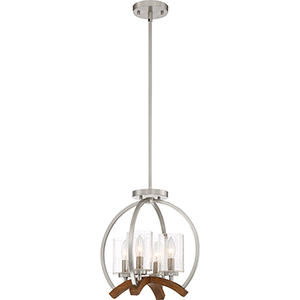 Kayden Brushed Nickel and Wood Four-Light Convertible Pendant