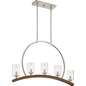 Kayden Brushed Nickel and Wood Five-Light Linear Pendant
