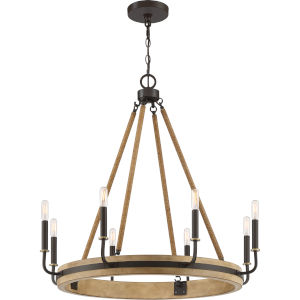 Kearney Western Bronze Eight-Light Chandelier