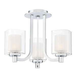 Kolt Polished Chrome Three-Light Semi Flush Mount