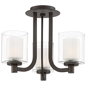 Kolt Western Bronze Three-Light Semi Flush Mount